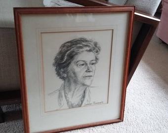 Vintage Original Pencil Sketch of a Lady Portrait.