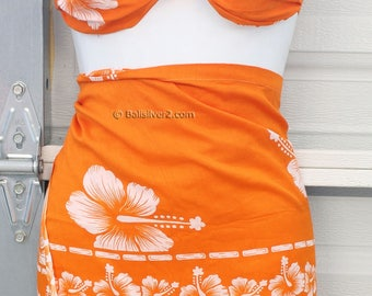 SUMMER SALE Sarong Pareo Beach Cover-Up Wrap Dress Skirt Hawaiian  Hibiscus Flower color set