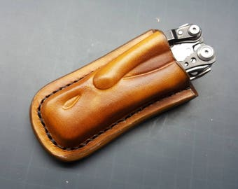 Leather pancake sheath pouch holster  for  Leatherman Skeletool