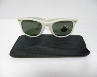 New Vintage B&L Ray Ban Wayfarer White 50mm Sunglasses USA NOS