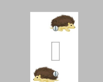 Light Switch Plate Cover - Raccoon Woodland Pattern - Kids Living Room Bathroom Home Decor