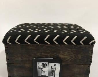 Upholstered Crate Storage Ottoman - Arrows