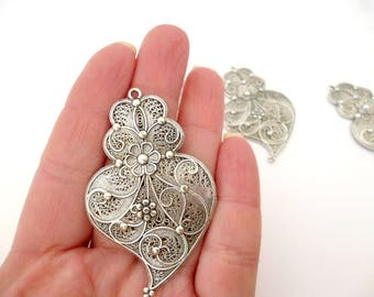 "Silver tone Charm pendant_PM50028/554129_Charms /Silver flower Heart of 37x60 mm / 2,36""_ pack 3 pcs"