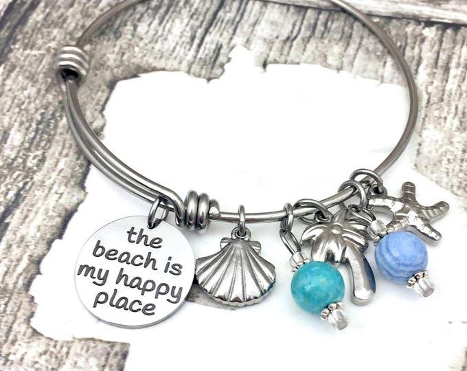 Beach is my Happy Place Adjustable Bangle Charm Bracelet