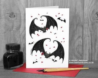 Gothic Wedding Card, Bat Card, Alternative Wedding Card, Engagement Card, Anniversary,  I Love You, Gothic Bats, Vampire Bat Card, Goth Card
