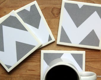 Coasters Tile - Handmade Coasters - Grey Coasters - Chevron Coasters - Coasters - Drink Coasters - Tile Coasters - Ceramic Coasters