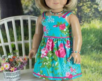 SUNDRESS Dress in Teal Blue Green Hot Pink Floral with Jewelry and SANDALS Option for American Girl or 18 inch Doll
