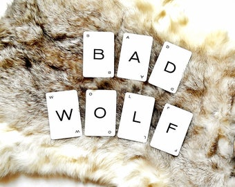 BAD WOLF~  Whovian Vintage Word Cards, Dr Who Wall Art, Banner or Card making Supply