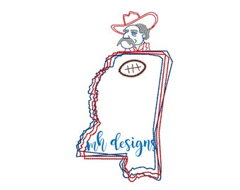 State of Mississippi with Rebel and Football embroidery design, Vintage stitch rebel, Mississippi embroidery file, Bean stitch rebel