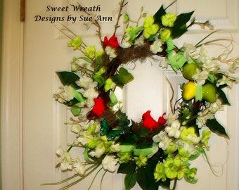 Bereavement Gift,Spring door wreath Cardinal,Free Shipping Wreath,Handmade Wreath,Unique Wreath,Spring Wreath, Spring door Wreath