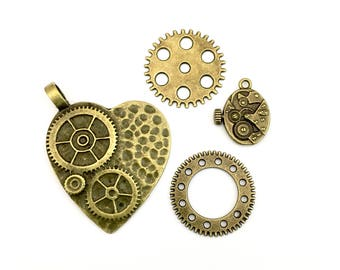 4 steampunk charms bronze tone ,15mm to 48mm # CH 168