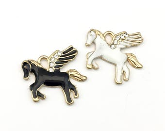 2 pegasus horse charms,enamel and gold tone 21mm x 24mm #CH 519