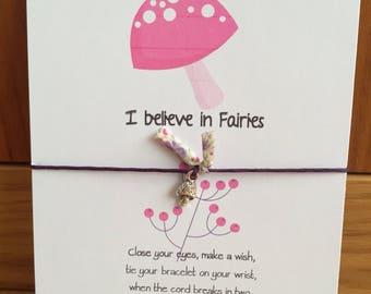Wish String Bracelet With Toadstool Charm. I believe in fairies Quote. Friendship Bracelet.