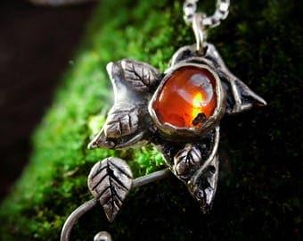 silver talisman with Carnelian stone