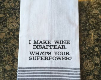 Wine Disappear Tea Towel (Black Stripe)