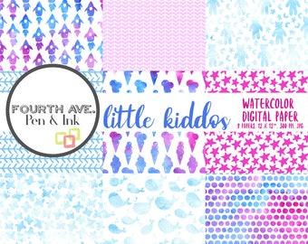 Watercolor Digital Paper, Baby Digital Paper, Baby Digital Paper Pack, Digital Scrapbook, Baby Scrapbook, Paper Craft