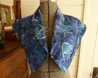 Vintage 40's 50's Cotton Hawaiian Bolero Jacket with Fish Cropped Shrug