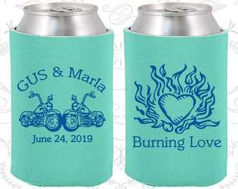 Burning Love, Personalized Favors, Motorcycles, Heart, Wedding Can Holders (93)