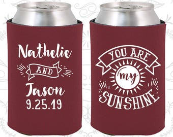 You are my Sunshine, Wedding Reception, Summer Wedding, Sun, Wedding Party Can Coolers (273)