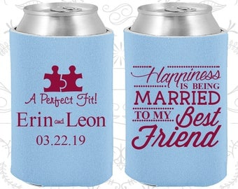 Happiness is Being Married to my Best Friend, Custom Wedding Favors, A Perfect Fit, Puzzle, Romantic Wedding, Can Cooler (512)