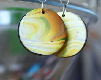 "Unique creation - ""Aurora Borealis"" polymer clay earrings"