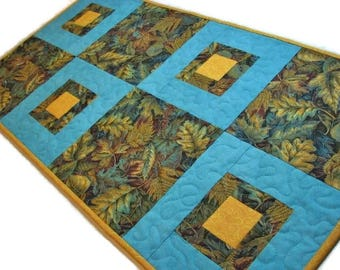 "Autumn Quilted Table Runner, Modern Quilted Table Mat,  Blue Gold and Brown Table Runner, Autumn Decor, 16""x31"", Quiltsy Handmade"