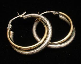 Hoop Earrings Two Color Sterling Silver Italy