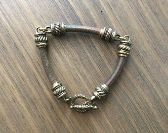 Handmade Natural Leather Bracelet With Copper Links and Closure