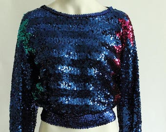 1970ies GERMAN VINTAGE/Bernd Linek L Couture Disco era Studio 54 Glitter Sequin electric blue Party Top Pullover, ca. Size S/M