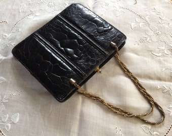 Vintage Small Black Leather Bag With Gold  Chain Handles
