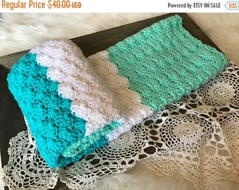 SALE Crochet Baby Blanket - Knit Baby Blanket - Stroller Blanket - Toddler Blanket - Baby Crib Blanket Mint Turquoise and White