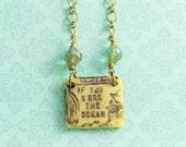 Ocean Necklace with Ice Blue Czech Glass Beads and Antique Brass Chain, Typography Necklace, Bohemian Mermaid Jewelry, Beach Necklace