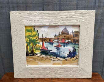 "Vintage Midcentury  Original Water Color Painting,  Framed ""Karis"" Painting of Sailboats"