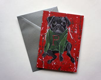 Black Pug in a Holiday Sweater Christmas Card, Pug Holiday Card, Pug Christmas Card, Pug Holiday Card by Amber Maki