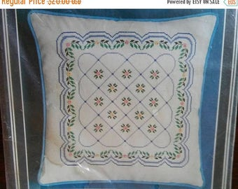 """On Sale Vintage Bucilla Gallery of Stitches """"Spring Garden"""" Pillow, 14"""" Square, Cross Stitch with Beads, Cream & Sky Blue, Complete"""