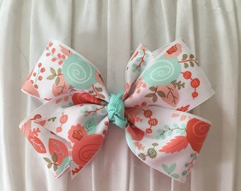 Coral/mint floral pinwheel bow