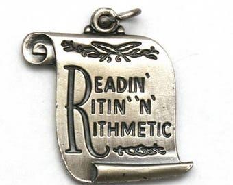 ON SALE Readin' Ritin' 'N' Rithmetic' Bracelet Charm Sterling Silver Educational Teacher
