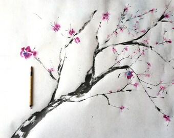 Cherry blossom, sumi-e,Sakura