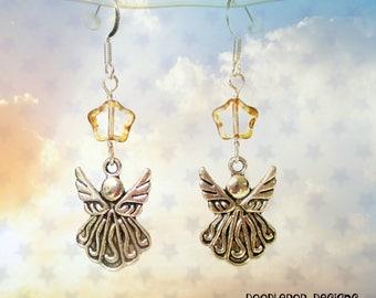 Christmas Angel earrings - Christmas earrings - Stocking filler gift - Gold star earrings - Angel jewellery - Christmas jewellery - Angels