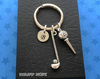 Golf keychain - Personalised golf club keyring - Gift for golf player - Golf keyring - Christmas gift - Stocking filler - Secret Santa gift