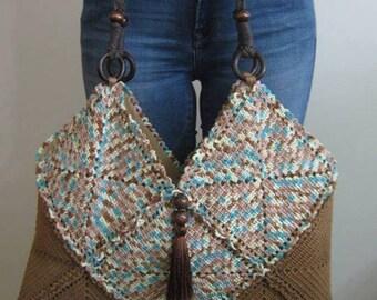 Crochet Bamboo Brown Tote Bag...