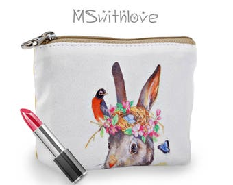 Bohemian Coin Purse, Boho Change Purse, Small Zipper Pouch, Credit Card Holder, Bohemian Bag, Bunny Purse Bag, Small Gifts for Her