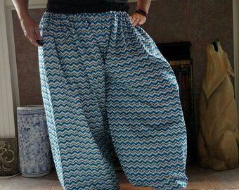 Blue, Black, and White Cotton Fabric Pantaloons