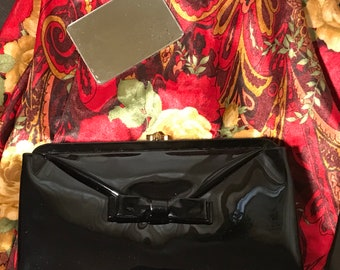 Black Faux Patent Clutch by Garay with Original Mirror