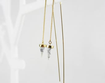 White marble cone threader earrings earrings