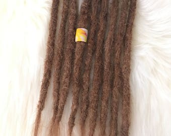 9 natural dreadlock extensions - Real human hair - chestnut brown blonde. Crochet knotty