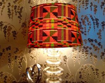 Large Green/Orange/ Black Lampshade /African Kente Print Lampshade