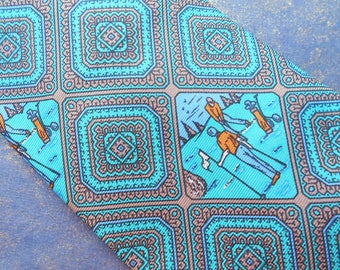 Vintage Brummell neck tie, turquoise silk necktie with golfers pattern, high fashion men accessories, golf gift for men, made in Italy...