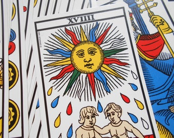 Beautifully illustrated tarot de Marseille, vintage French fortune telling card game. Made in France, 1977.