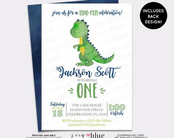 Dinosaur Birthday Invitation - Trex Watercolor Boy Birthday Invite - Modern Dino First Birthday Invite - Boy Blue Green Baby Shower Invite
